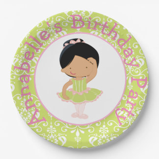 Cute African American Ballerina Birthday Party Paper Plate
