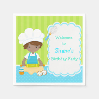 Cute African American Boy Baking Birthday Party Disposable Napkin