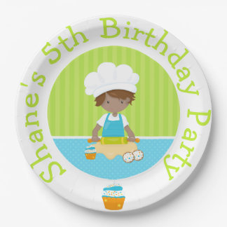 Cute African American Boy Baking Birthday Party Paper Plate