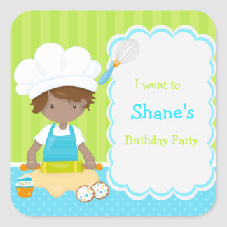 Cute African American Boy Baking 'I went to' Square Sticker