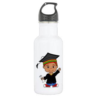 Cute African American Boy Graduate Water Bottle