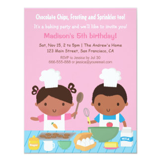 Cute African American Cooking Birthday Party Card