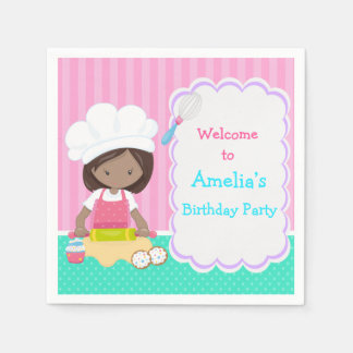 Cute African American Girl Baking Birthday Party Disposable Serviette