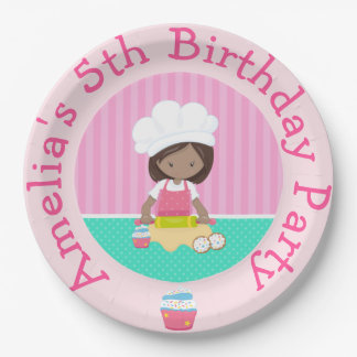 Cute African American Girl Baking Birthday Party Paper Plate