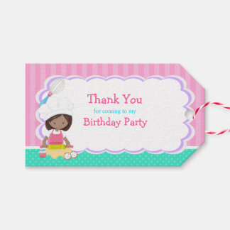 Cute African American Girl Baking Gift Tag