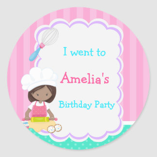 Cute African American Girl Baking 'I went to' Classic Round Sticker