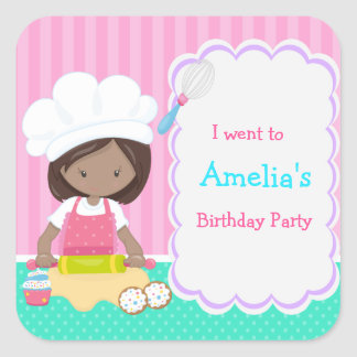 Cute African American Girl Baking 'I went to' Square Sticker
