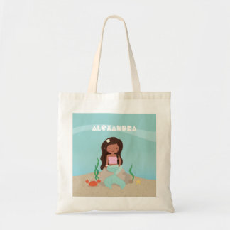 Cute African American Mermaid Girl Tote Bag