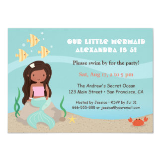 Cute African American Mermaid Girls Birthday Party 11 Cm X 16 Cm Invitation Card