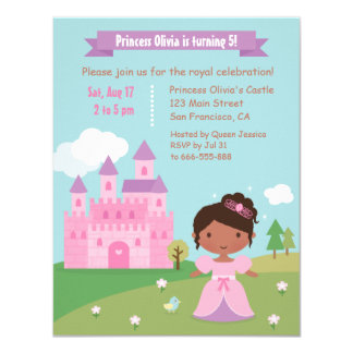 Cute African American Princess Birthday Party Card