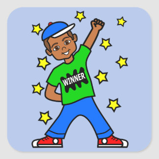 Cute African American Winner Boy Stickers