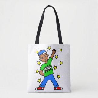 Cute African American Winner Boy Tote Bag