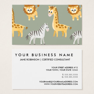 Cute African Baby Animals Safari Theme Business Card