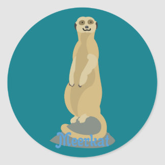 Cute African Meerkat standing upright atop a rock Classic Round Sticker