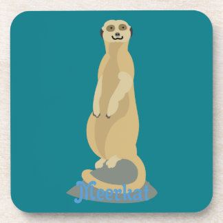 Cute African Meerkat standing upright atop a rock Coaster