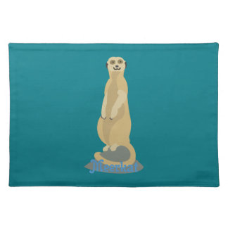 Cute African Meerkat standing upright atop a rock Placemat