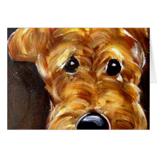 Cute Airedale Art Card