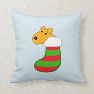 Cute Airedale Dog in Christmas Stocking Pillow
