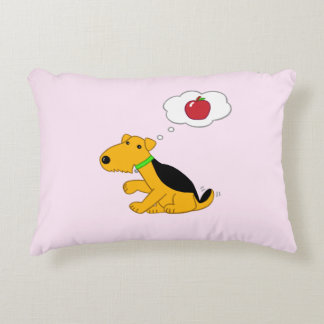 Cute Airedale Dog Thinks of Apple Lumbar Pillow