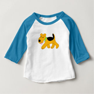 Cute Airedale Terrier Dog Raglan Baby T-shirt