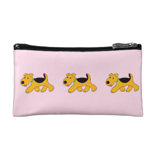 Cute Airedale Terrier Trotting Puppy Cosmetic Case