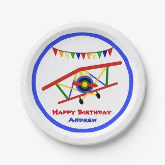 Cute Airplane Boy Birthday Paper Plate