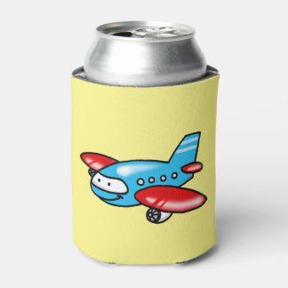 cute airplane cartoon can cooler