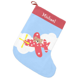 Cute Airplane Puppy Personalized Small Christmas Stocking