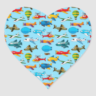 Cute Airplanes Helicopters Airships  Pattern Heart Sticker