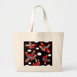 Cute airplanes large tote bag