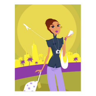 Cute airport girl with flying ticket illustration postcard
