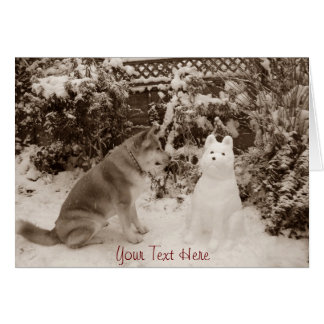 cute akita in the snow with a snowman akita photo note card