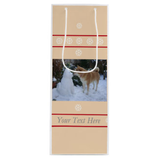cute akita kissing snowman akita photo christmas wine gift bag