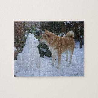 cute akita kissing snowman akita photograph jigsaw puzzle