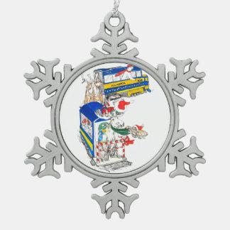 Cute Alaska Whimsical Wildlife Train to North Pole Pewter Snowflake Decoration