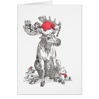 Cute Alaska Wildlife Bull Moose Christmas Card