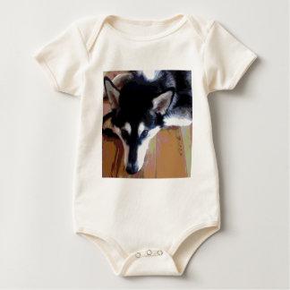 Cute Alaskan Malamute Face Baby Bodysuit