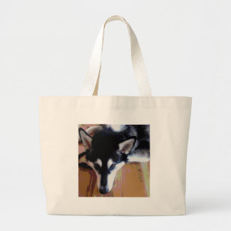 Cute Alaskan Malamute Face Large Tote Bag
