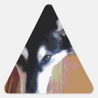 Cute Alaskan Malamute Face Triangle Sticker