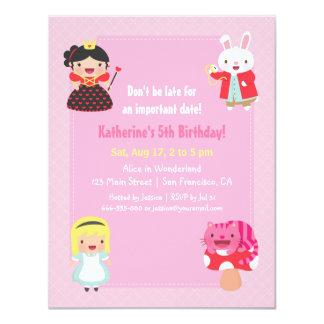Cute Alice in Wonderland Girls Birthday Party 11 Cm X 14 Cm Invitation Card