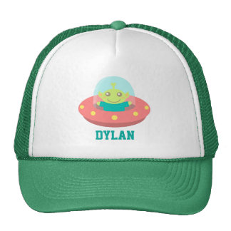 Cute Alien in Spaceship, Outer Space, For Trucker Hat