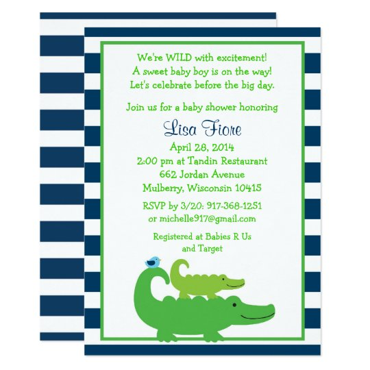 Cute Alligator Baby Shower Card