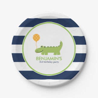 Cute Alligator Birthday 7 Inch Paper Plate