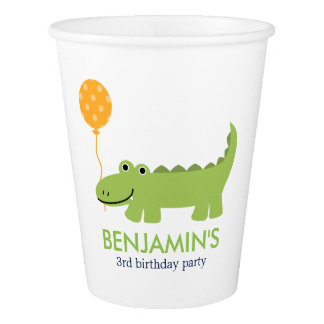 Cute Alligator Children's Birthday Paper Cup
