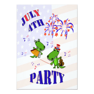 Cute Alligator July 4 Party Invitation
