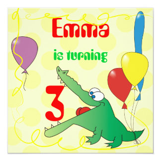 Cute Alligator Kids Birthday Party Invitations