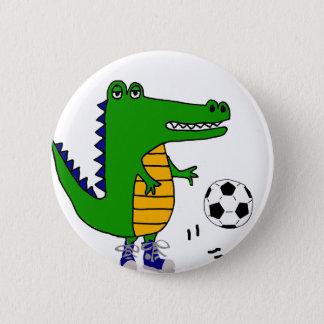 Cute Alligator Playing Soccer or Football Cartoon 6 Cm Round Badge