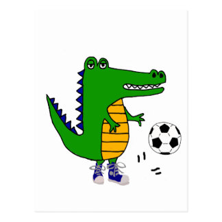 Cute Alligator Playing Soccer or Football Cartoon Postcard