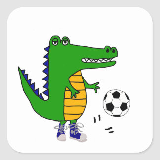 Cute Alligator Playing Soccer or Football Cartoon Square Sticker
