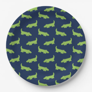Cute Alligators Pattern Birthday Paper Plate
